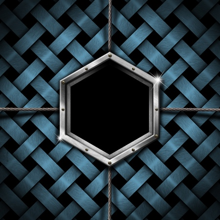 Business background with hexagonal frame on blue metal braided background Stock Photo - 15359747