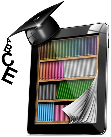 Black tablet computer with bookcase and graduation hat on white background