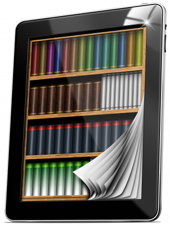 Black tablet computer with bookcase and pages on white background