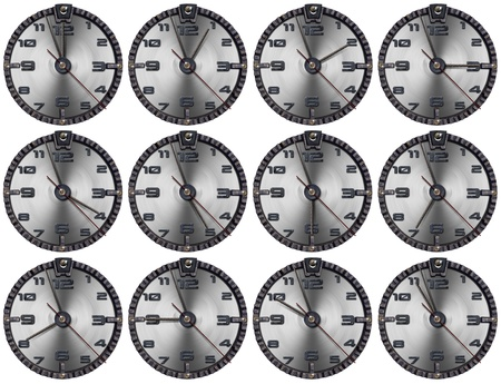 Collection of grunge clocks showing each hour of the day Stock Photo - 15420991