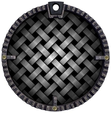 crisscross: Metal crisscross diagonal template on black circular grunge background