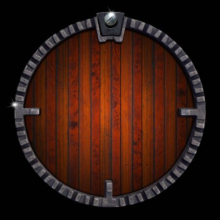 Grunge background with wooden and metallic circle on black background Stock Photo - 15440187