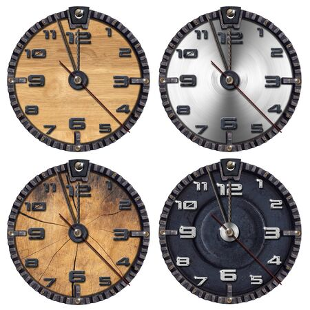 Collection of wooden and metallic grunge clocks on white background Stock Photo - 15470175