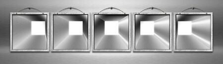 Five blank square metal frames hanging on a metal wall with metal cable  photo