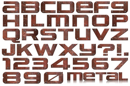 or rust: Brown grunge metal alphabet and numbers with screws on white background