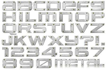 Metal alphabet and numbers with bolts on white background Archivio Fotografico