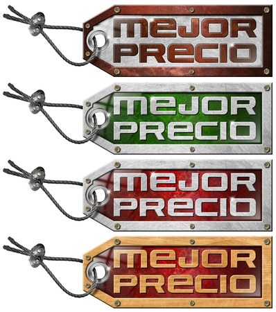 spanish language: Grunge tags with steel cable and written best price in Spanish language