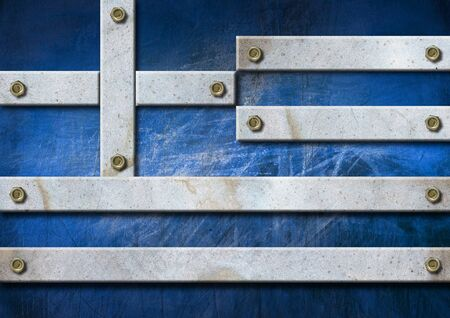 bolts heads: Greece grungy metal flag with bolts heads  Stock Photo
