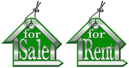local supply: Leather and metal house tag with steel cable and written for sale and for rent