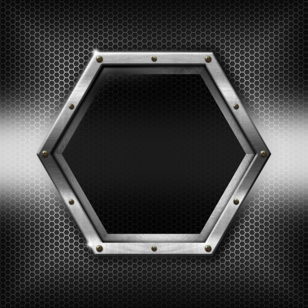 Metallic abstract background with hexagon grid texture and hexagonal metal frame