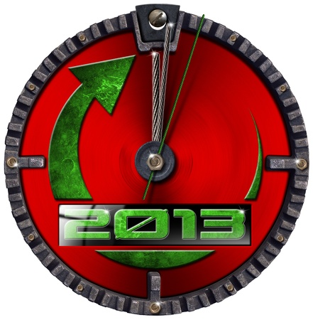 Metal grunge clock - concept new year 2013 on white background photo