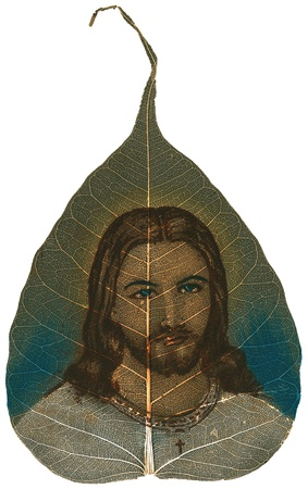 jesus paintings: Peepal Leaf hand-painted depicting Jesus on white background