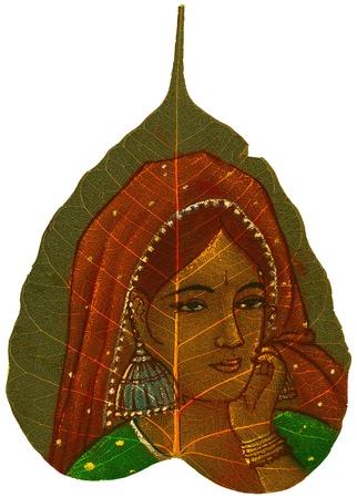 iluminados: Hoja Peepal pintados a mano que representa a una mujer joven con velo y pendientes