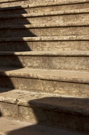 Old stone steps at the foot of an ancient sanctuary - Trento Italy  photo