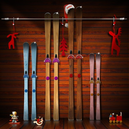 A pair of skis for each family member - winter holidays concept photo