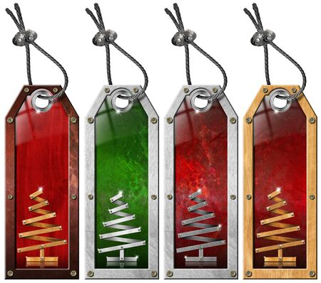 Four grunge metallic and wooden tags with stylized Christmas tree