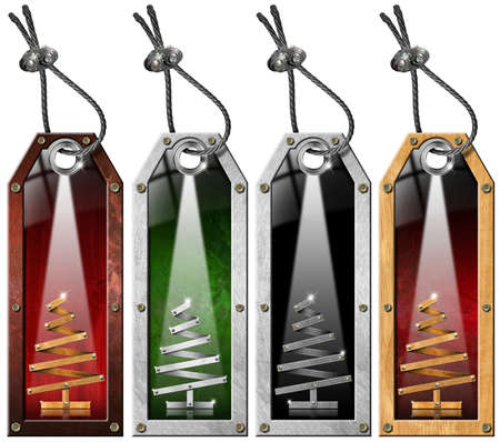 Four grunge metallic and wooden tags with stylized Christmas tree Stock Photo - 15996058