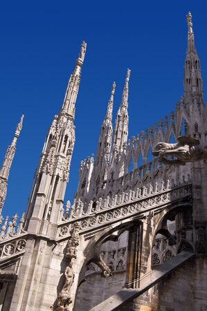 buttresses: Detail of the buttresses, flying buttresses and pinnacles of the Milan Cathedral