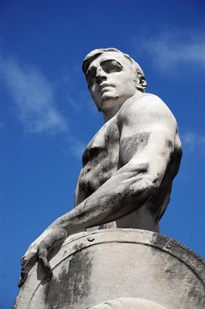 il: Detail of the statue Il Genio della Stirpe by sculptor Carlo Fontana (1865-1956)  Stock Photo