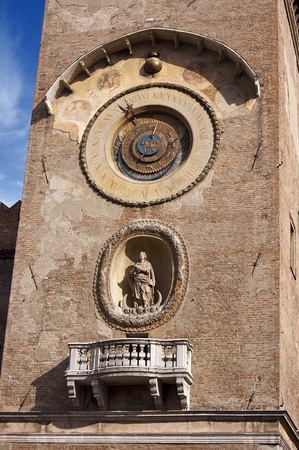 Detail of medieval clock tower in Piazza delle Erbe - Mantova Lombardy - Italy Stock Photo - 16102419