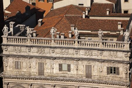 Details of ancient baroque Palazzo Maffei (1626-1663) - aerial view - Italy