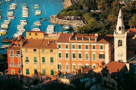 Lerici typical seaside town in Liguria - Italy - The harbor and old buildings photo