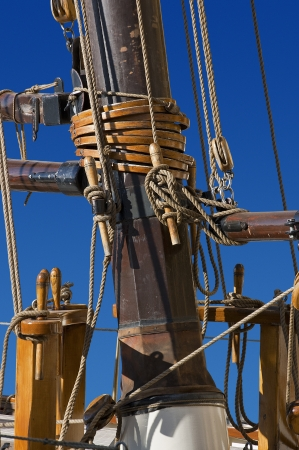 shrouds: Detail of old mast of sailing ship with ropes on blue sky