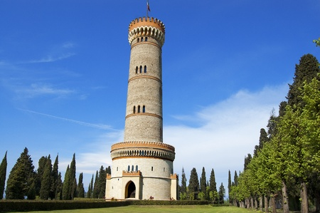 risorgimento: Tower in neo-gothic style of the year 1893 - Celebration of the Italian Risorgimento Stock Photo