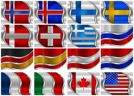 Collection of 16 metal flags on White Background