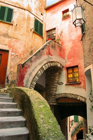 liguria: Typical narrow alley of Liguria (caruggio) - Tellaro Italy