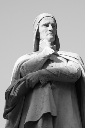 Statue of Dante in Verona Italy - Detail in Black and white Stock Photo - 16517117