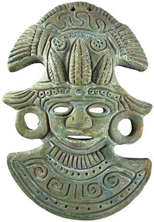 アステカ マヤ粘土マスク (緑) トウモロコシの神 - メキシコの工芸品の塗装 写真素材