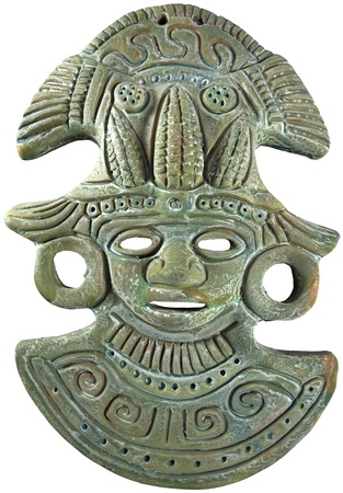 Aztec Mayan clay mask painted (green) Maize God - Mexican crafts Banco de Imagens