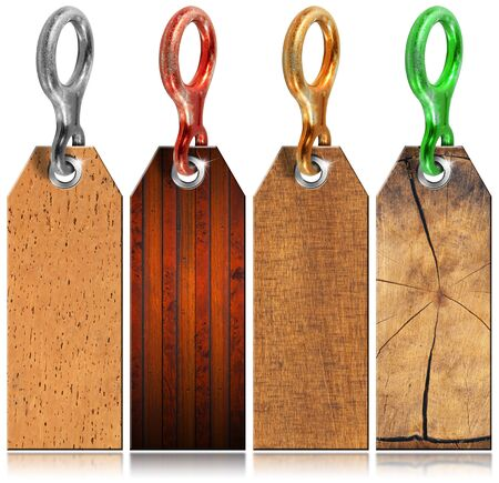 descender: Four empty grunge wooden tags with metal ring on white background