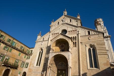 Facade of the Cathedral of Verona - Santa Maria Matricolare - Veneto Italy Stock Photo - 16704365