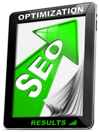 increase visibility: Written SEO - Search engine optimization with green arrow, globe and tablet pc