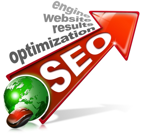 increase visibility: Written SEO with red arrow and globe, mouse and written: optimization, results, website, engine