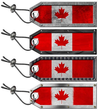 Four grunge metallic tags with Canada flags, steel cable and metal rivets Stock Photo - 16728383