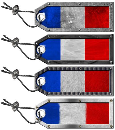 Four grunge metallic tags with France flags, steel cable and metal rivets Stock Photo - 16728384