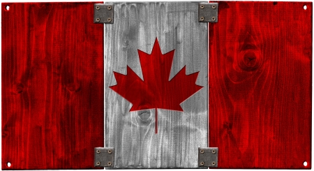 Canada grunge wooden flag with the heads of screws photo