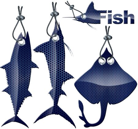 Sea fish  - three blue metal labels hanging on steel cable Stock Photo - 16757640