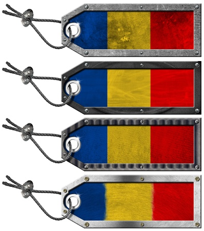 Four grunge metallic tags with Romania flags, steel cable and metal rivets Stock Photo - 16820669
