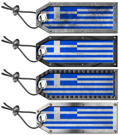 Four grunge metallic tags with Greece flags, steel cable and metal rivets Stock Photo - 16820654