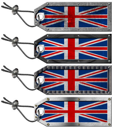 Four grunge metallic tags with UK flags, steel cable and metal rivets Stock Photo - 16820653