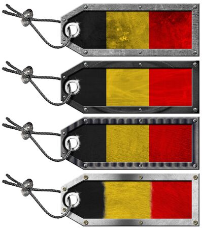 Four grunge metallic tags with belgian flags, steel cable and metal rivets Stock Photo - 16820655