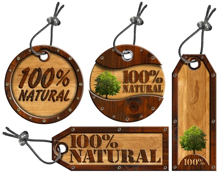 Four wooden tags - 100% Natural with tree, steel cable and metal rivets Banque d'images