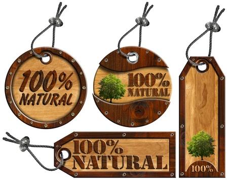 Vier houten tags - 100% Natural met boom, stalen kabel en metalen klinknagels