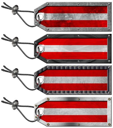 Four grunge metallic tags with austrian flags, steel cable and metal rivets Stock Photo - 16888314
