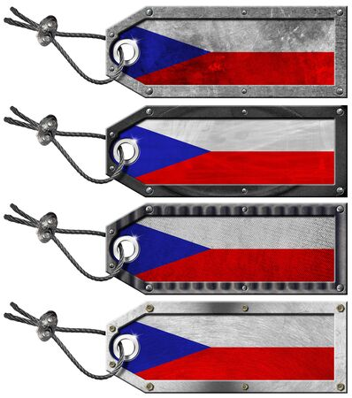 Four grunge metallic tags with czechia flags, steel cable and metal rivets Stock Photo - 16888318
