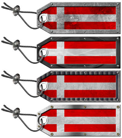 Four grunge metallic tags with danish flags, steel cable and metal rivets Stock Photo - 16888316